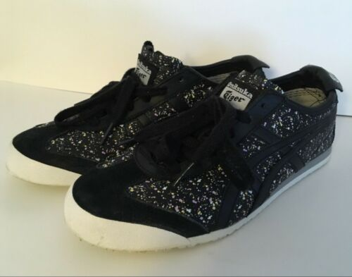 7 Retro Paint Sneakers Onitsuka Größe Einzigartige Tiger 5 Look Splattered black HFqzOT