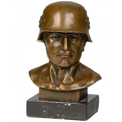 Wunderschöne Bronze Skulptur Büste Soldat Militär 16 cm sehr edel