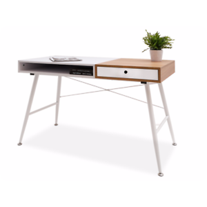 LUXIA-Bureau-scandinave-tiroir-etagere-Blanc-Effet-bois-chene-design-moderne