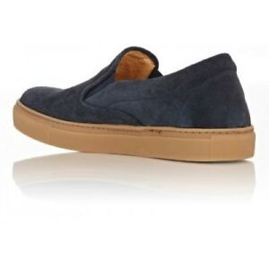 BARNEYS NEW YORK MEN S BLUE SUEDE SLIP-ON SNEAKERS SIZE 12 MADE IN ... 2e042c334