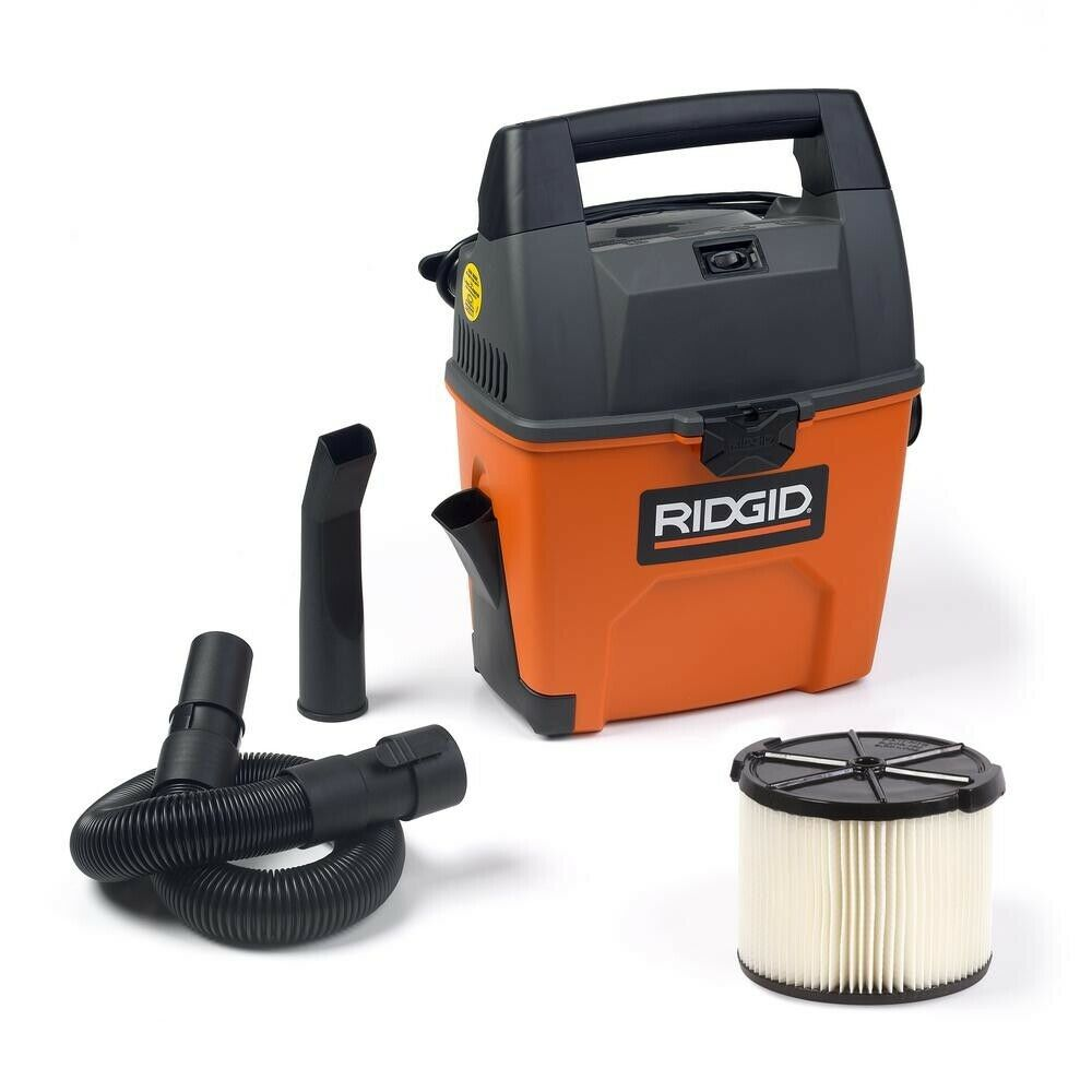 Rigid Wet Dry Vacuum Small Portable Shop Vac Cleaner Hose Lightweight 3Gal.