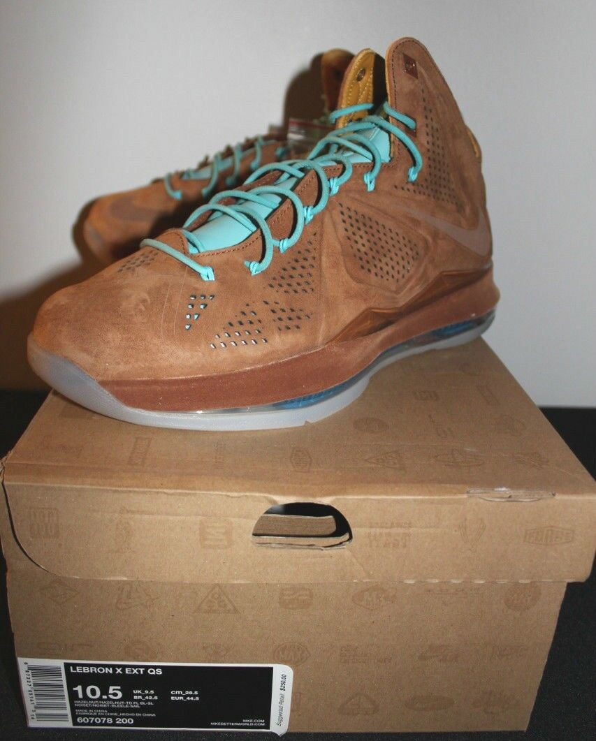 Nike Air Lebron X 10 EXT Hazelnut Suede Blue Sneakers Mens Comfortable Brand discount
