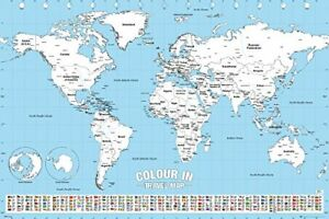 World map colour in educational maps maxi poster print 61x915cm image is loading world map colour in educational maps maxi poster gumiabroncs Images