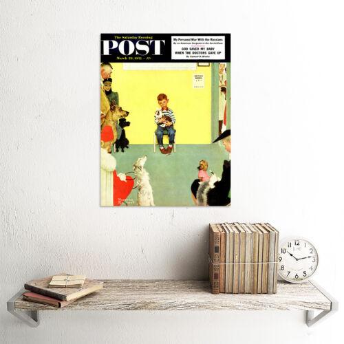 PAINTING MAGAZINE COVER VET WAITING ROOM DOG BOY USA ART PRINT CC1269