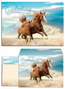 Einladungskarten-mit-Umschlaegen-Kindergeburtstag-Pferde-Fohlen-Maedchen-Junge