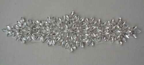 Bridal wedding rhinestones applique beaded rhinestones motif diamante applique