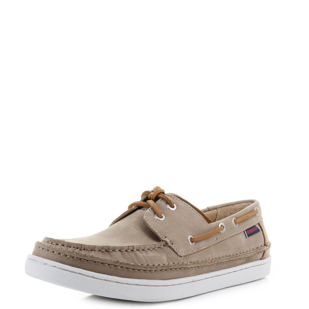 Sebago Ryde Two Eye B226046 Tan Sand Beige Leather Deck shoes  Size uk 10.5