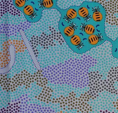 BUSH HONEY ANT MINT by FQ or Metre AUSTRALIAN ABORIGINAL ART QUILT FABRIC
