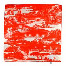 "New SALVATORE FERRAGAMO 35.75"" Abstract Red Silk Scarf Wrap Shawl NWT $595"
