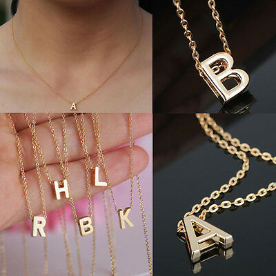 Women Gift Gold plate Letter name Initial chain Pendant Fashion Necklace AAAAA