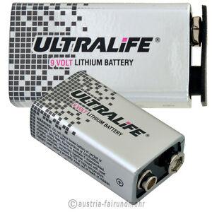 """""""1x Lithium 9v Block Ultralife Hi Energy Batterie U9vl"""