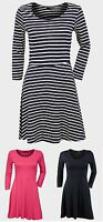 Ladies Womens Atmosphere Skater Pink Black Stripe 3/4 Sleeves Dress Top