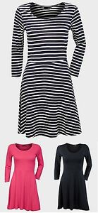Ladies-Womens-Atmosphere-Skater-Pink-Black-Stripe-3-4-Sleeves-Dress-Top