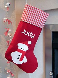 Luxury Christmas Stockings Uk.Details About Personalised Name Luxury Snowman Christmas Stocking Red Lined Uk Handmade
