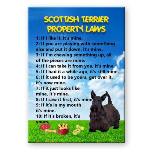SCOTTISH TERRIER Property Laws FRIDGE MAGNET Funny