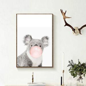 Niedlich-Tier-Koala-Nordisch-Leinwand-Malerei-Kunstdruck-Poster-Wandbild-Zi-A6P4