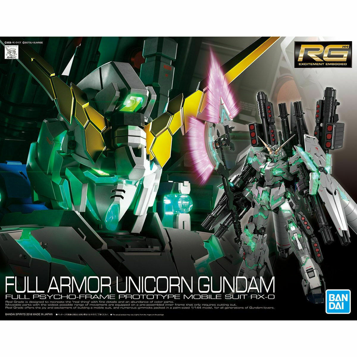 BANDAI RG 1 144 RX-0 FULL ARMOR UNICORN Gundam Plastic Model Kit Gundam UC NEW