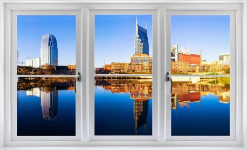 Window Landscape View NASHVILLE TENNESSEE SKYLINE DAY #1 Wall Sticker Art Decal