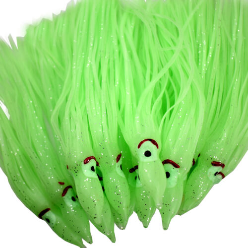 "Octopus Skirt lure Trolling Bait Squid Fishing Hoochies 10pc 6/"" Green Luminous"