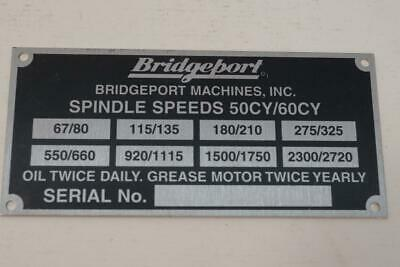 NEW HI-LOW Range Name Plate for Bridgeport Parts Mill