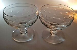 PAIR OF THOMAS WEBB EARLY STAMP LOW SHERBERT CHAMPAGNE SAUCERS ETCHED STARS