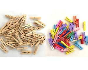 New-50pc-Mini-Wooden-Pegs-Craft-Mini-Pegs-Clothespin-Natural-Coloured-Photo-Baby