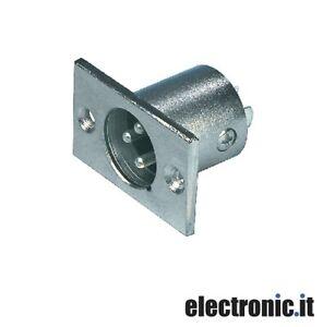 Connettore-XLR-3-Pin-Maschio-Metallo-Argento-2-pezzi