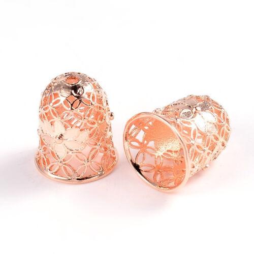 50x Rose Gold Apetalous Hollow Bell with Flower Brass Bead Caps 15x12mm Hole 2mm