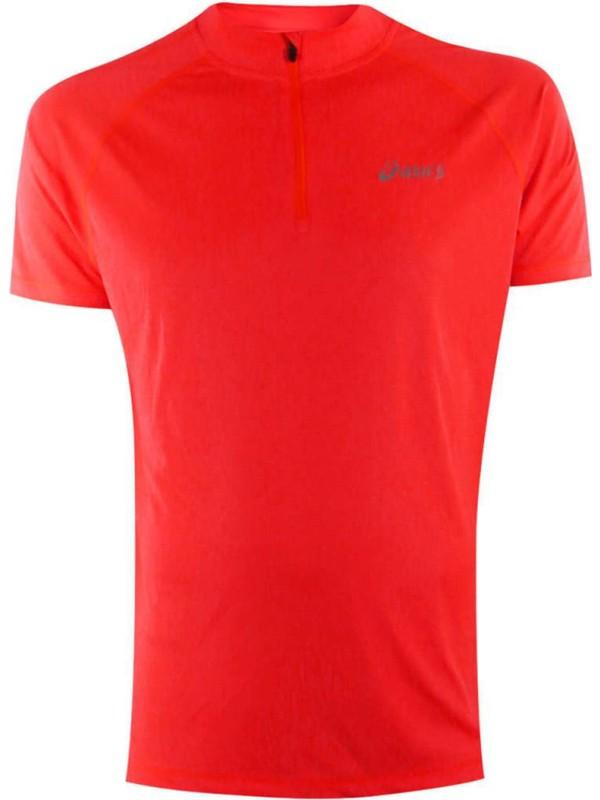 ASICS Men's Running Top Sports S/S 1/2 Zip Top - Fiery Flame Pink - New