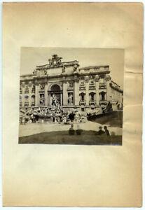 Roma Fontana di Trevi Piccola foto all' albumina originale 1860c S1543