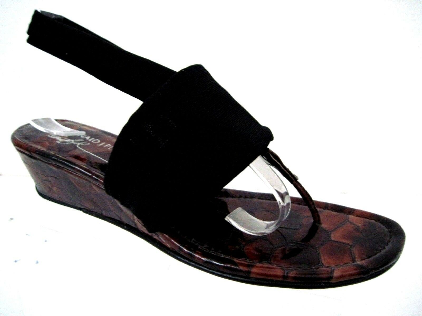 DONALD J PLINER Dasan Black Fabric Brown Croc Print Wedge Sandals Size 7.5 M