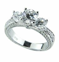 Three-stone Diamond Engagement Ring Solid 14k White Gold Band 1.82 Carats