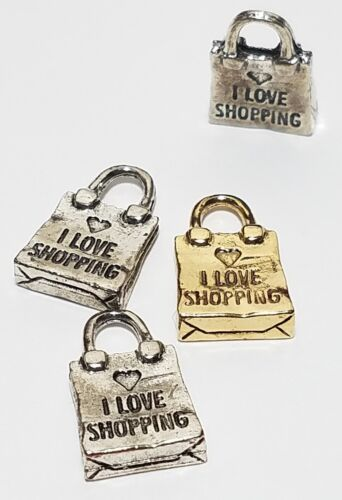 I LOVE SHOPPING BAG FINE PEWTER PENDANT CHARM 11x17x3mm