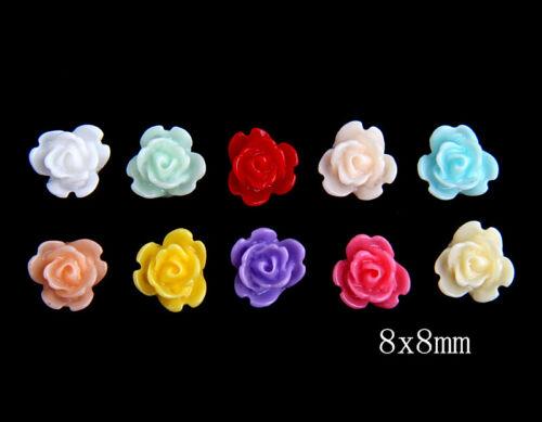 100pcs Mix colors Resin Sun Flower Flatback Appliques for Graft DIY 8mm