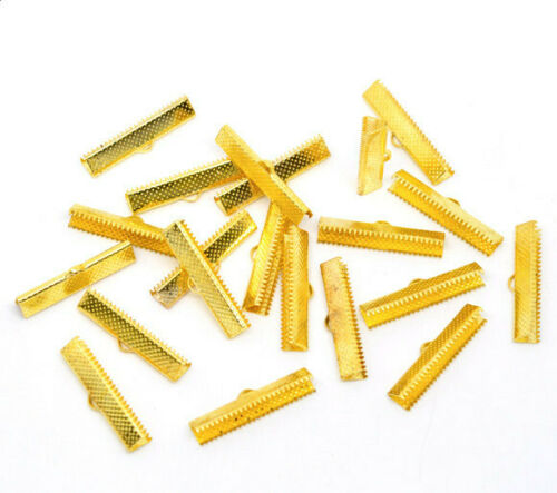 50 Ribbon End Cap Crimp Beads Gold Plated 30mm x 7.5mm FD332