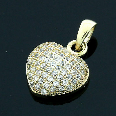 9CT HALLMARKED YELLOW GOLD PAVE SET DOMED HEART PENDANT CHAIN OPTIONAL
