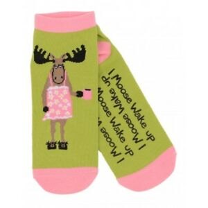 Hatley-No-Slip-Ankle-Socks-WOMENS-Medium-I-MOOSE-WAKE-UP