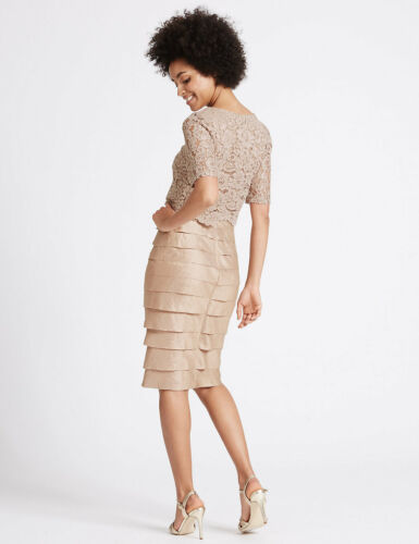 M/&S Collection Pink Or Champagne Lace Shutter Pleat Dress UK 12