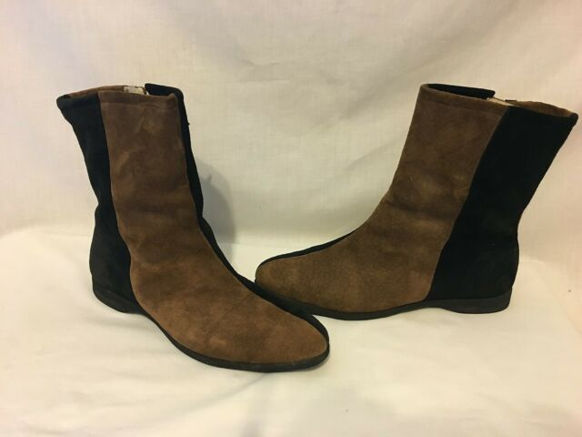 HUSH PUPPIES Vtg 60's 70's RETRO Colorblock Pigskin Sherpa Lined Boots Wms 8.5 M
