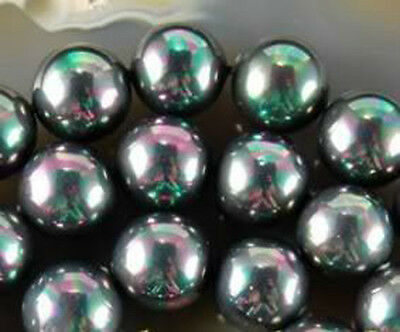 """8mm Multicolor Black South Sea Shell Pearl Round Loose Beads 15"""" AAA"""