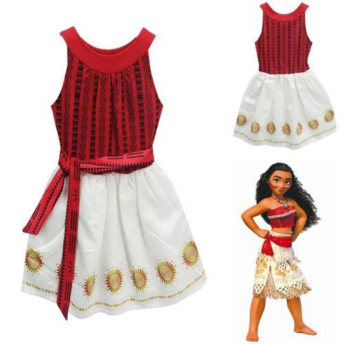 US Stock Lovely Girls Moana Sleeveless  Party Holiday Birthday Dress Costume O15