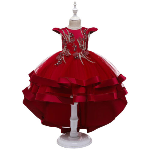 Formal Kids Princess Dress Flower Girl Dresses Pageant Party Layered Tulle Gown