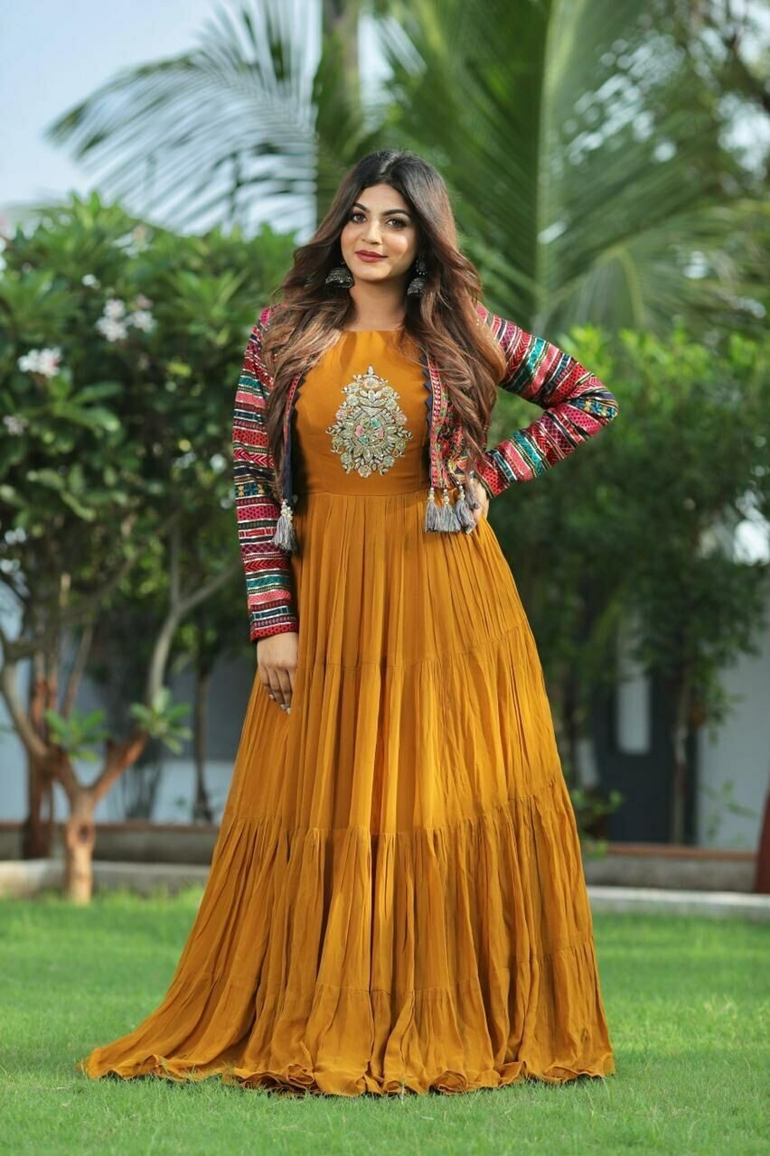 Ruffle Gown with jacket Stitched Salwar Kameez Gown Set for women wedding wear