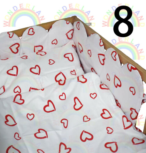 3 PIECE BEDDING SET HEART NURSERY BABY COT DUVET COVER PILLOWCASE BUMPER FITTED