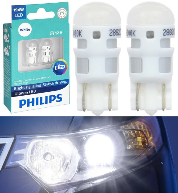Philips Ultinon LED Light 194 White 6000K Two Bulb Front Side Marker Upgrade Fit