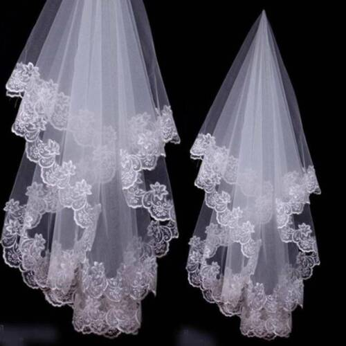 White//Ivory Elegant Waist Length Elbow Lace Tulle Edge Bridal Wedding Veils 6A
