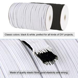 200Yds//Roll White Flat Elastic Fibre Cord Stretch String DIY Crafting Thread 6mm