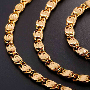U7-Men-039-s-Jewelry-18K-Gold-Plated-Snail-Chain-Cool-Link-Chain-Necklace-6MM-18-30-034