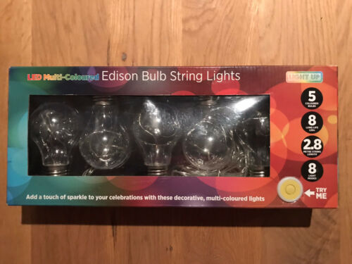 LED Multi-coloured Edison Bulb String Lights 8Modes Christmas Or Summer Parties