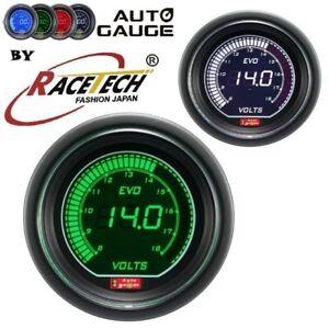 EVO Digial Racetech Autogauge Voltage Gauge 52mm GREEN WHITE 12 volt